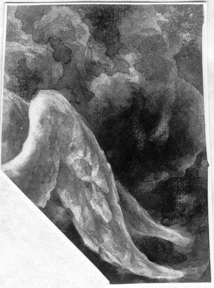 Anielskie skrzydło na tle chmur